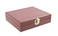 Wooden casket over white background Royalty Free Stock Photos