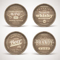 Wooden casks with alcohol drinks emblems set of Stock Photos