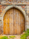 Wooden castle gate old in sunny day Royalty Free Stock Image