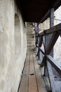 Wooden catwalk castle battlements and barrier on Stock Photography