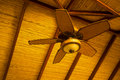 Wooden ceiling fan in classic tropical style Stock Photo