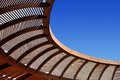 Wooden ceiling gazebo and blue sky Royalty Free Stock Image