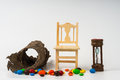 Wooden chair sand glass countdown Royalty Free Stock Photo