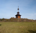 Wooden chapel on meadow above Lutise village in Slovakia Royalty Free Stock Photo