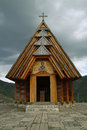Wooden chapel orthodox on a hilltop in drvengradu serbia Stock Photos