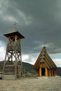 Wooden chapel orthodox on a hilltop in drvengradu serbia Stock Images