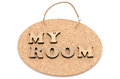 The wooden character of my room on a corkboard Stock Images