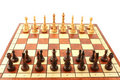 Wooden chess on wooden chessboard Stock Photo