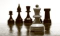 Wooden chessboard with the chessmen Stock Photo