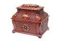 Wooden chest carved casket on a white background Royalty Free Stock Image