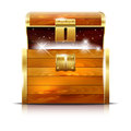 Wooden chest with glowing treasure on white background Royalty Free Stock Photo