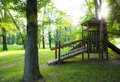 Wooden children playground in beautiful nature scenery Royalty Free Stock Images