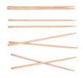 Wooden chopsticks collection of made of bamboo isolated on white background Royalty Free Stock Photo