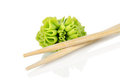 Wooden chopsticks and wasab Royalty Free Stock Images