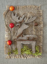 Wooden christmas deer Royalty Free Stock Photos