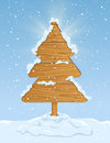 Wooden christmas tree sign in the form of with falling snow on blue sky background illustration Royalty Free Stock Images