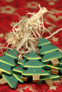 Wooden Christmas trees Stock Image