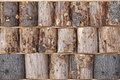 Wooden chumps wall background texture Stock Photography