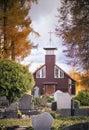 Wooden Church In Cemetery
