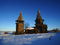 Wooden church churches architecture karelia russia zaonezhie jandmozero Royalty Free Stock Photography