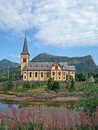 Wooden church in Kabelvag - Lofoten, Norway Royalty Free Stock Photos