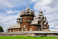 Wooden church at kizhi under reconstruction antique of transfiguration island in russia Stock Photography