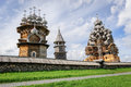 Wooden church at Kizhi under reconstruction Royalty Free Stock Photo