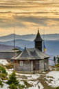 Wooden church in mountain Stock Photo