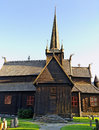 Wooden church in the norway cemetery Royalty Free Stock Photography