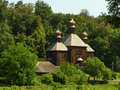 Wooden church old in folk arts museum pirogovo kiev ukraine Stock Image