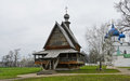 Wooden church of st nicholas and cathedral the nativity in suzdal kremlin russia Royalty Free Stock Image