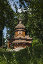 Wooden church traditional ukrainian among the trees Stock Image