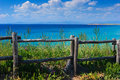 Wooden cliff fence Stock Photography