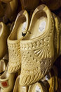 Wooden clog pair of duth hanging in the show room for zaanse schans shop in south of amsterdam netherlands Stock Photo