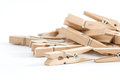 Wooden clothes pins, isolated on a white background Royalty Free Stock Photo