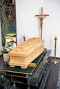 Wooden coffin Royalty Free Stock Photo