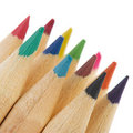 Wooden color pencils Stock Photos