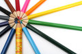 Wooden color pencils around of of the wooden competitor Stock Image