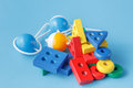 Wooden color toy on blue Royalty Free Stock Photo