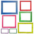 Wooden Colorful frame isolated on white background Royalty Free Stock Photo