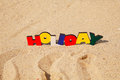 Wooden colorful word 'Holiday' Stock Photos