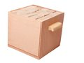 Wooden container and cubes Stock Photos