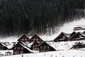 Wooden cottages mountains ski resort bukovel ukraine and nature Stock Image