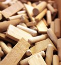 Wooden cotters plugs and other small parts Royalty Free Stock Images