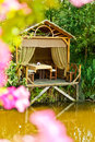 Wooden cozy gazebo for relaxing Royalty Free Stock Images