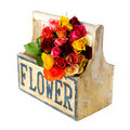 Wooden crate colorful roses Royalty Free Stock Image