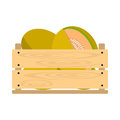 Wooden crate with honey melons