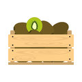 Wooden crate with kiwi
