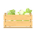 Wooden crate with kohlrabi