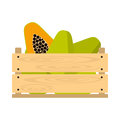 Wooden crate with papaya